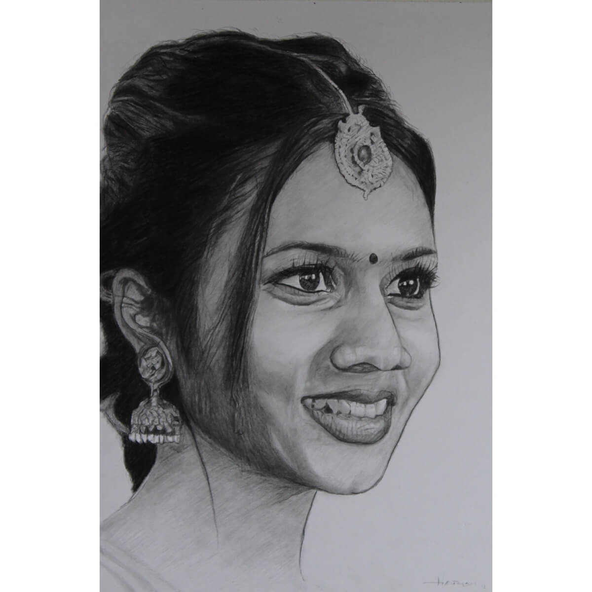 Buy the bright girl pencil sketch commissioned portrait products online in india ruralshop