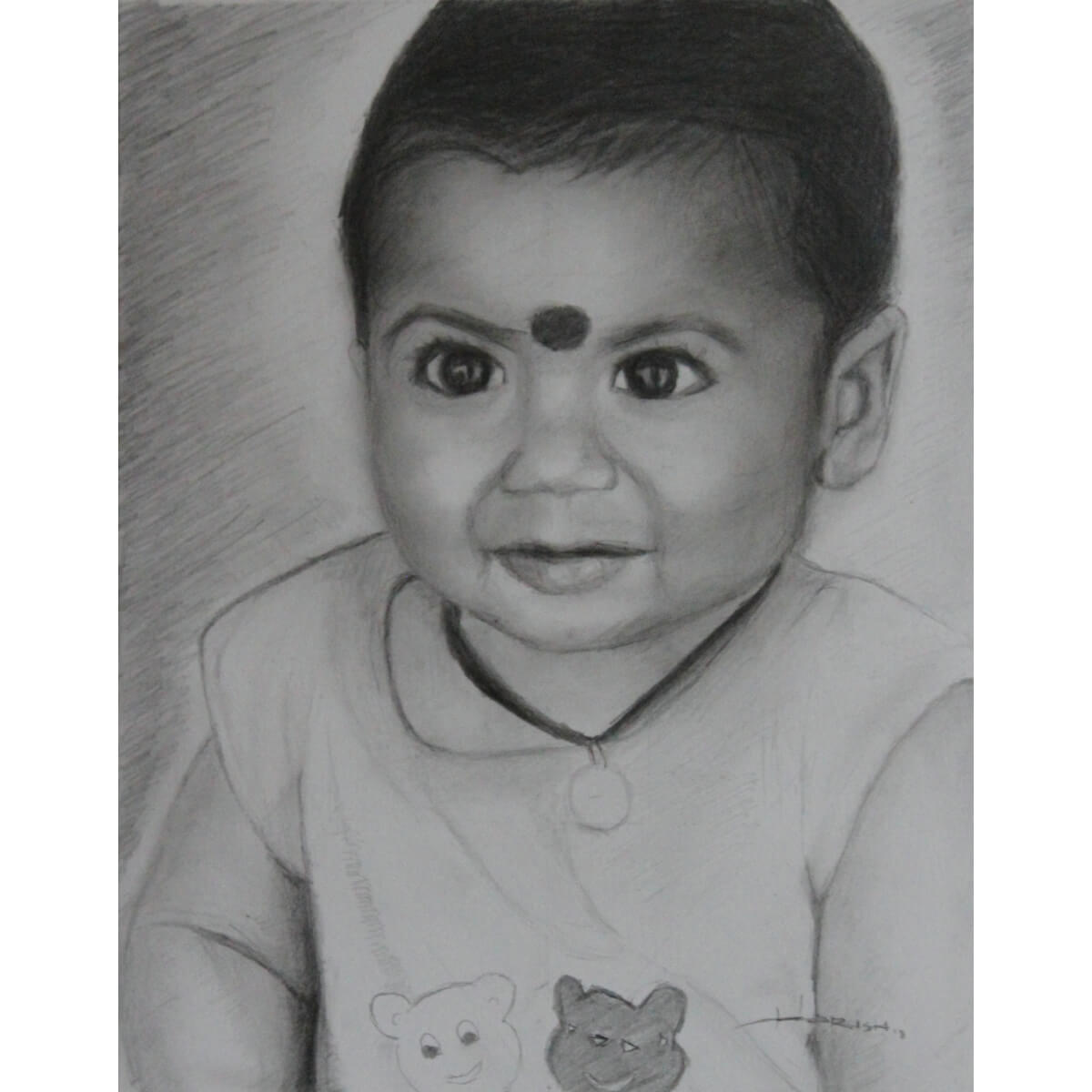 Buy the cute baby pencil sketch commissioned portrait products online in india ruralshop