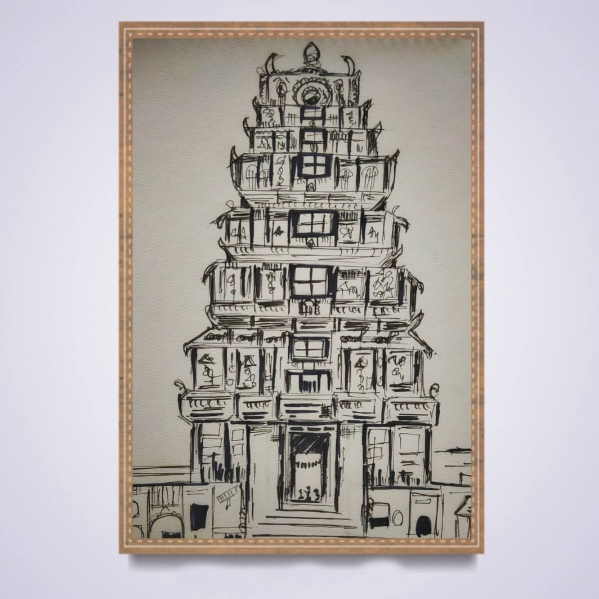 Buy gopuram hindu temple pencil sketch products online in india ruralshop