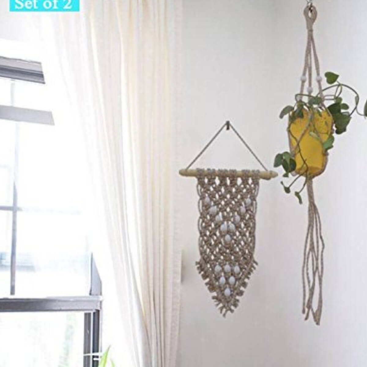 Buy Dove Jute Macrame Wall Hanging Plant Hanger Set Of 2 Products